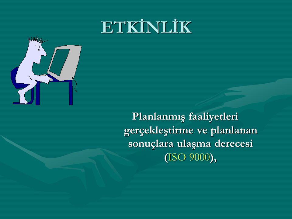 ETKİNLİK Planlanmış faaliyetleri gerçekleştirme ve planlanan sonuçlara ulaşma derecesi (ISO 9000),