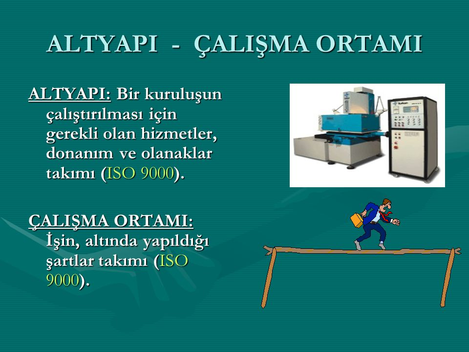 ALTYAPI - ÇALIŞMA ORTAMI ALTYAPI: Bir kuruluşun çalıştırılması için gerekli olan hizmetler, donanım ve olanaklar takımı (ISO 9000). ÇALIŞMA ORTAMI: İş