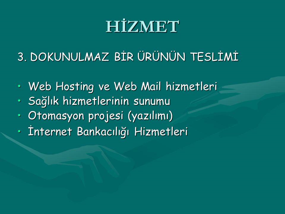 HİZMET 3. DOKUNULMAZ BİR ÜRÜNÜN TESLİMİ Web Hosting ve Web Mail hizmetleriWeb Hosting ve Web Mail hizmetleri Sağlık hizmetlerinin sunumuSağlık hizmetl