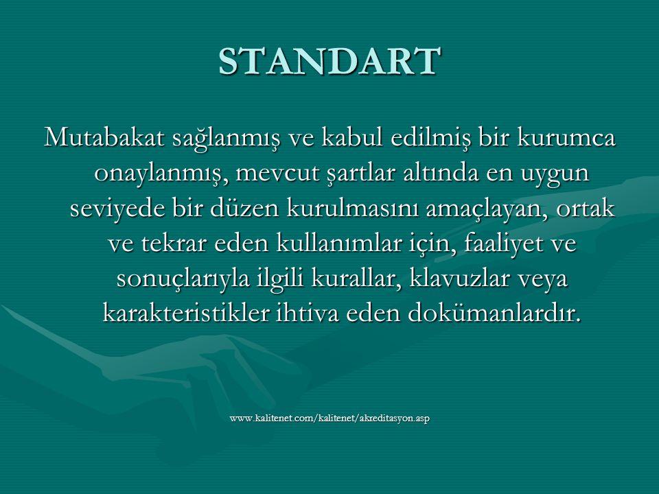 STANDART Mutabakat sağlanmış ve kabul edilmiş bir kurumca onaylanmış, mevcut şartlar altında en uygun seviyede bir düzen kurulmasını amaçlayan, ortak ve tekrar eden kullanımlar için, faaliyet ve sonuçlarıyla ilgili kurallar, klavuzlar veya karakteristikler ihtiva eden dokümanlardır.