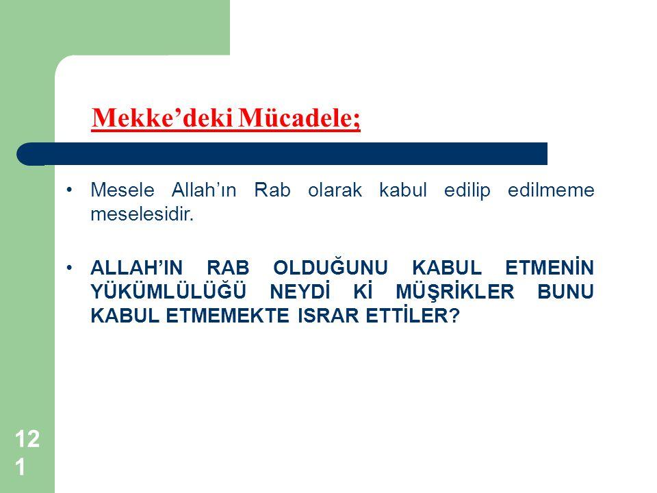 121 Mekke'deki Mücadele; Mesele Allah'ın Rab olarak kabul edilip edilmeme meselesidir.