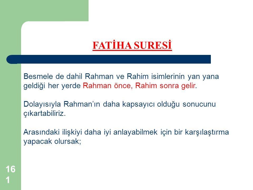 161 FATİHA SURESİ Besmele de dahil Rahman ve Rahim isimlerinin yan yana geldiği her yerde Rahman önce, Rahim sonra gelir. Dolayısıyla Rahman'ın daha k