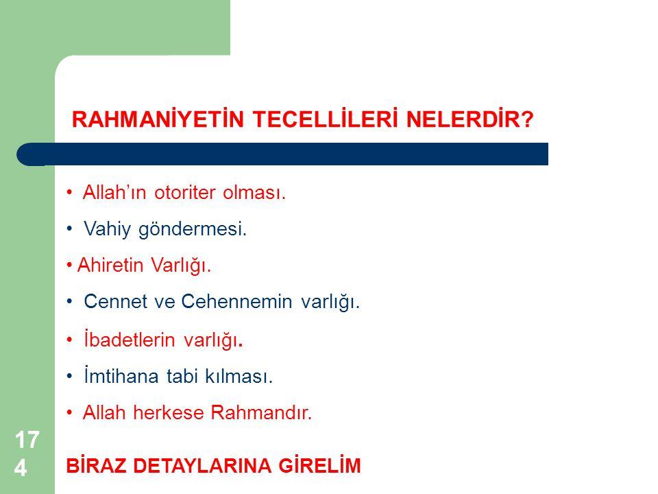 174 Allah'ın otoriter olması.Vahiy göndermesi. RAHMANİYETİN TECELLİLERİ NELERDİR.
