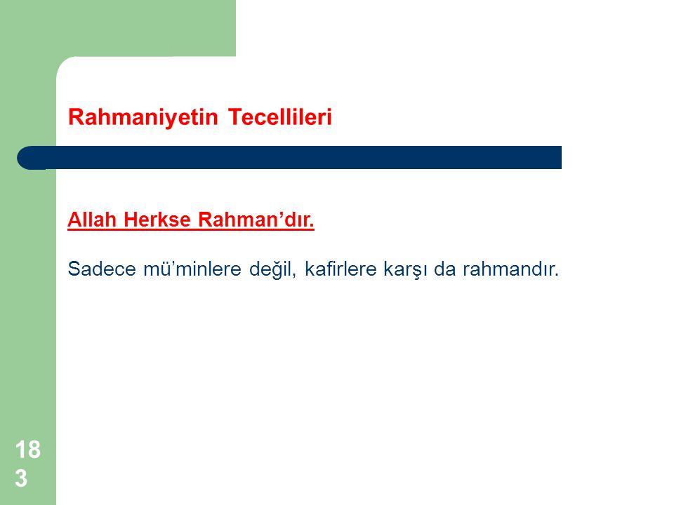 183 Rahmaniyetin Tecellileri Allah Herkse Rahman'dır. Sadece mü'minlere değil, kafirlere karşı da rahmandır.