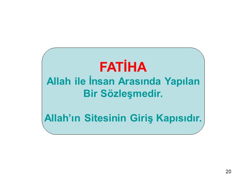20 FATİHA Allah ile İnsan Arasında Yapılan Bir Sözleşmedir. Allah'ın Sitesinin Giriş Kapısıdır.