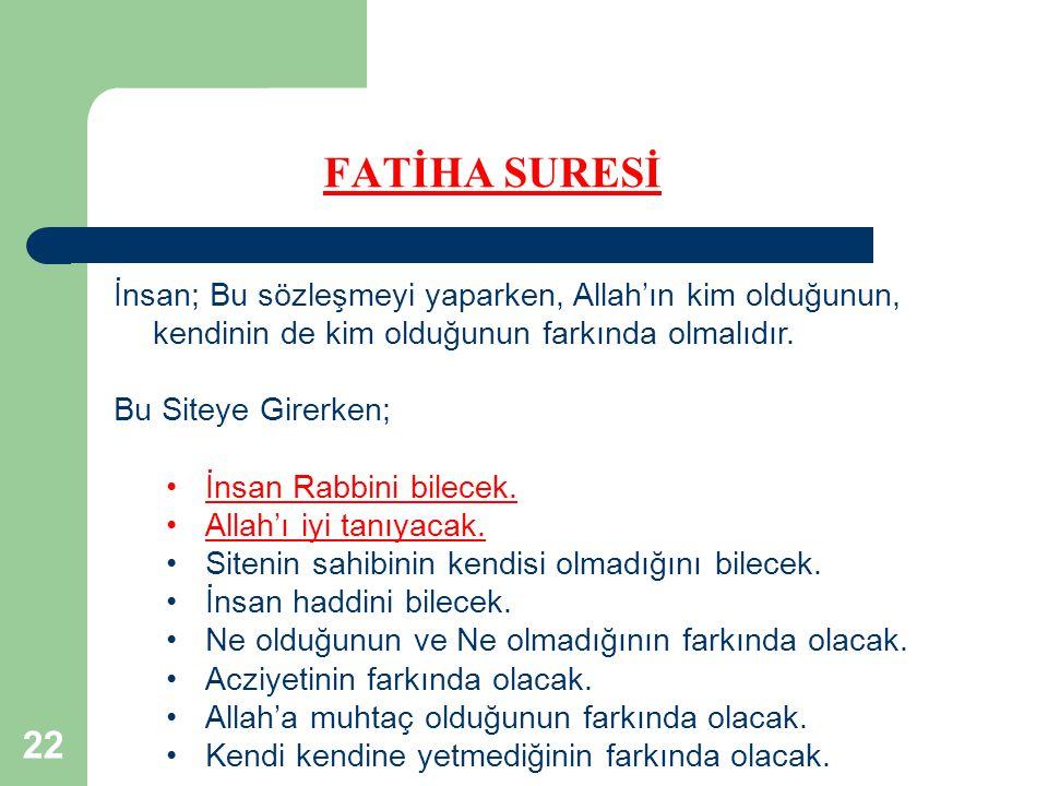 22 FATİHA SURESİ İnsan; Bu sözleşmeyi yaparken, Allah'ın kim olduğunun, kendinin de kim olduğunun farkında olmalıdır.