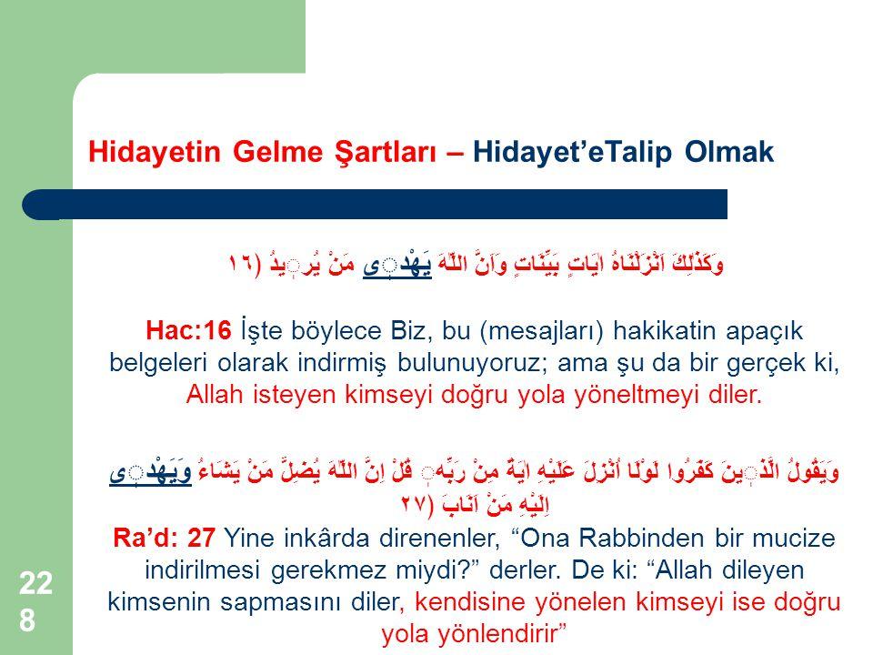 228 Hidayetin Gelme Şartları – Hidayet'eTalip Olmak وَكَذٰلِكَ اَنْزَلْنَاهُ اٰيَاتٍ بَيِّنَاتٍ وَاَنَّ اللّٰهَ يَهْدى مَنْ يُريدُ ﴿١٦ Hac:16 İşte böy