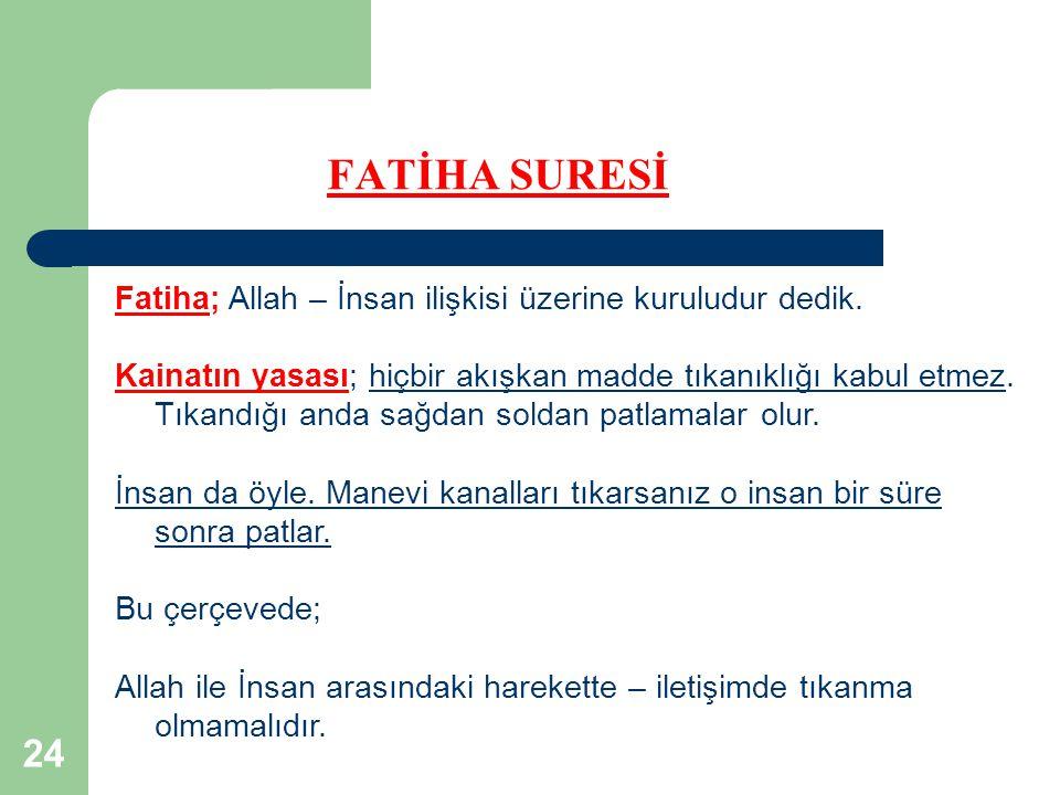 24 FATİHA SURESİ Fatiha; Allah – İnsan ilişkisi üzerine kuruludur dedik. Kainatın yasası; hiçbir akışkan madde tıkanıklığı kabul etmez. Tıkandığı anda