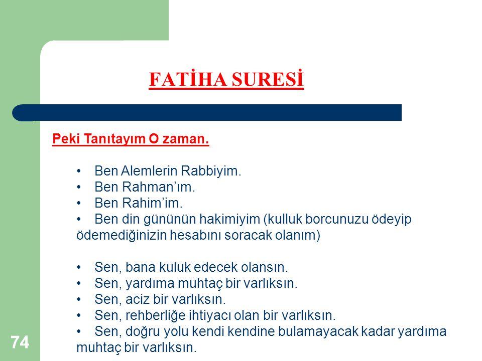 74 FATİHA SURESİ Peki Tanıtayım O zaman. Ben Alemlerin Rabbiyim. Ben Rahman'ım. Ben Rahim'im. Ben din gününün hakimiyim (kulluk borcunuzu ödeyip ödeme