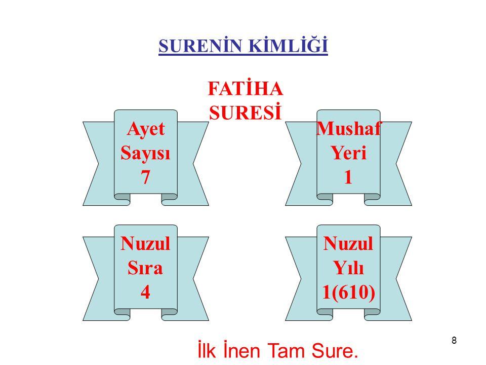 8 SURENİN KİMLİĞİ FATİHA SURESİ Nuzul Sıra 4 Ayet Sayısı 7 Nuzul Yılı 1(610) Mushaf Yeri 1 İlk İnen Tam Sure.