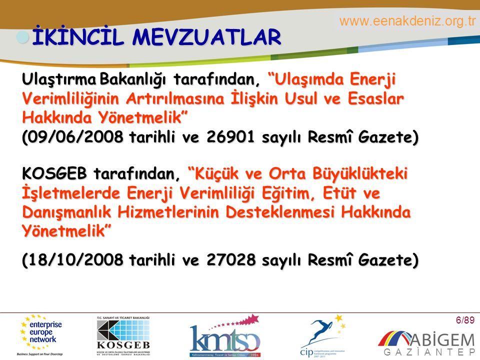 www.eenakdeniz.org.tr G A Z İ A N T E P 7/89 İKİNCİL MEVZUATLAR Enerji ve Tabii Kaynaklar Bakanlığı tarafından, Enerji Kaynaklarının ve Enerjinin Kullanımında Verimliliğinin Artırılmasına Dair Yönetmelik (25/10/2008 tarihli ve 27035 sayılı Resmî Gazete) Bayındırlık ve İskan Bakanlığı tarafından, binalarda mimarî tasarım, ısıtma, soğutma, ısı yalıtımı, sıcak su, elektrik tesisatı ve aydınlatma konularındaki normları, standartları, asgarî performans kriterlerini, bilgi toplama ve kontrol prosedürlerini kapsayan Binalarda Enerji Performansı Yönetmeliği (5/12/2008 tarihli ve 27075 sayılı Resmi Gazete, Revize 1 Nisan 2010)