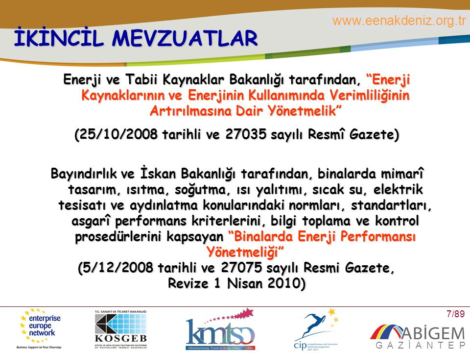 www.eenakdeniz.org.tr G A Z İ A N T E P 8/89 İKİNCİL MEVZUATLAR Milli Eğitim Bakanlığı tarafından, Milli Eğitim Bakanlığına Bağlı Okullarda Enerji Yöneticisi Görevlendirilmesine İlişkin Yönetmelik (17/04/2009 tarihli ve 27203 sayılı Resmî Gazete)