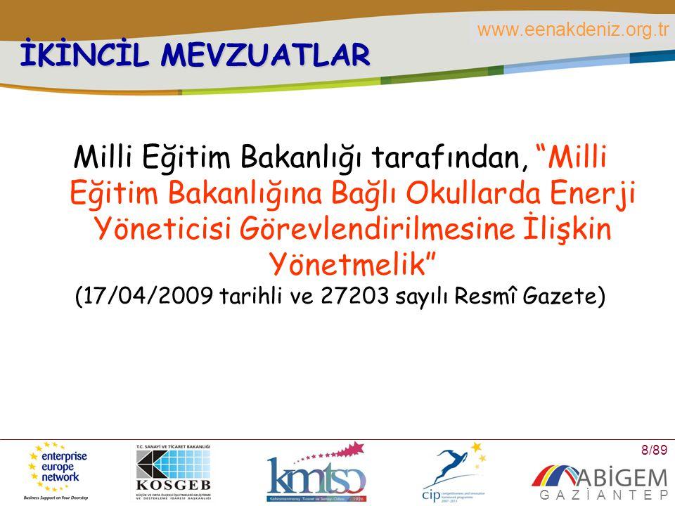 www.eenakdeniz.org.tr G A Z İ A N T E P 9/89 NEDEN ENERJİ VERİMLİLİĞİ 2007 yılında birincil enerji tüketimi 107.6 MTEP olmuştur