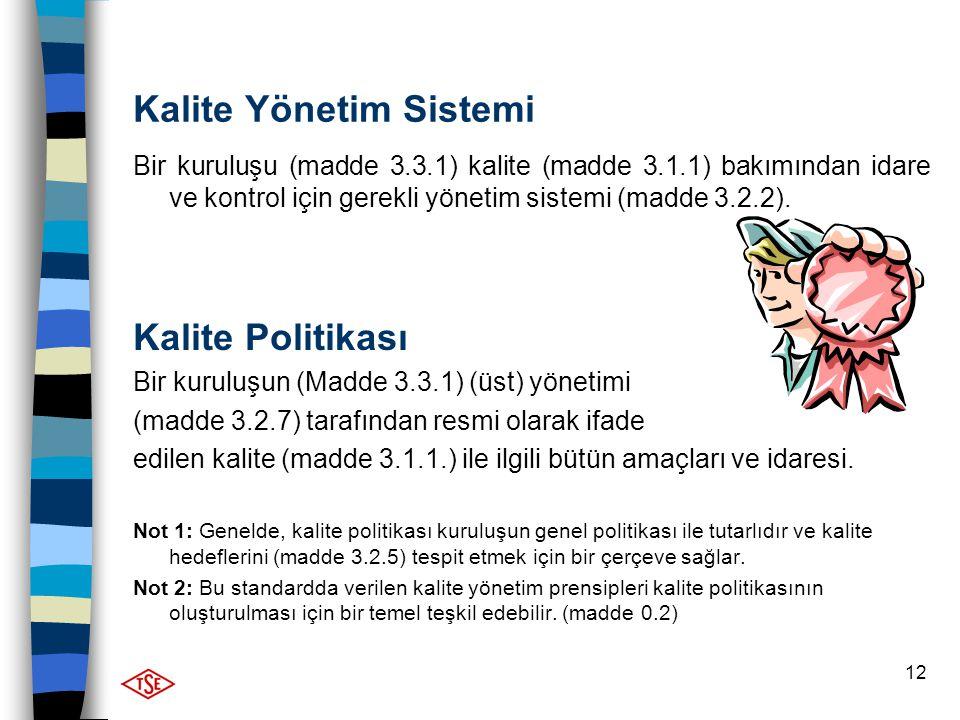 12 Kalite Yönetim Sistemi Bir kuruluşu (madde 3.3.1) kalite (madde 3.1.1) bakımından idare ve kontrol için gerekli yönetim sistemi (madde 3.2.2). Kali