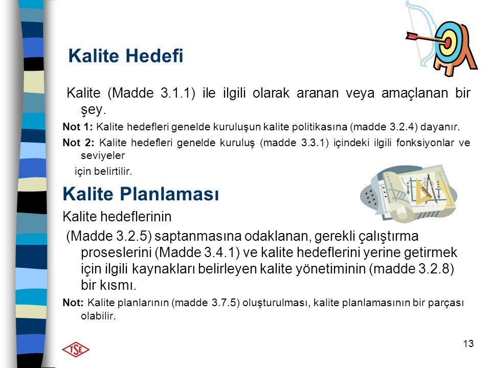 13 Kalite Hedefi Kalite (Madde 3.1.1) ile ilgili olarak aranan veya amaçlanan bir şey. Not 1: Kalite hedefleri genelde kuruluşun kalite politikasına (