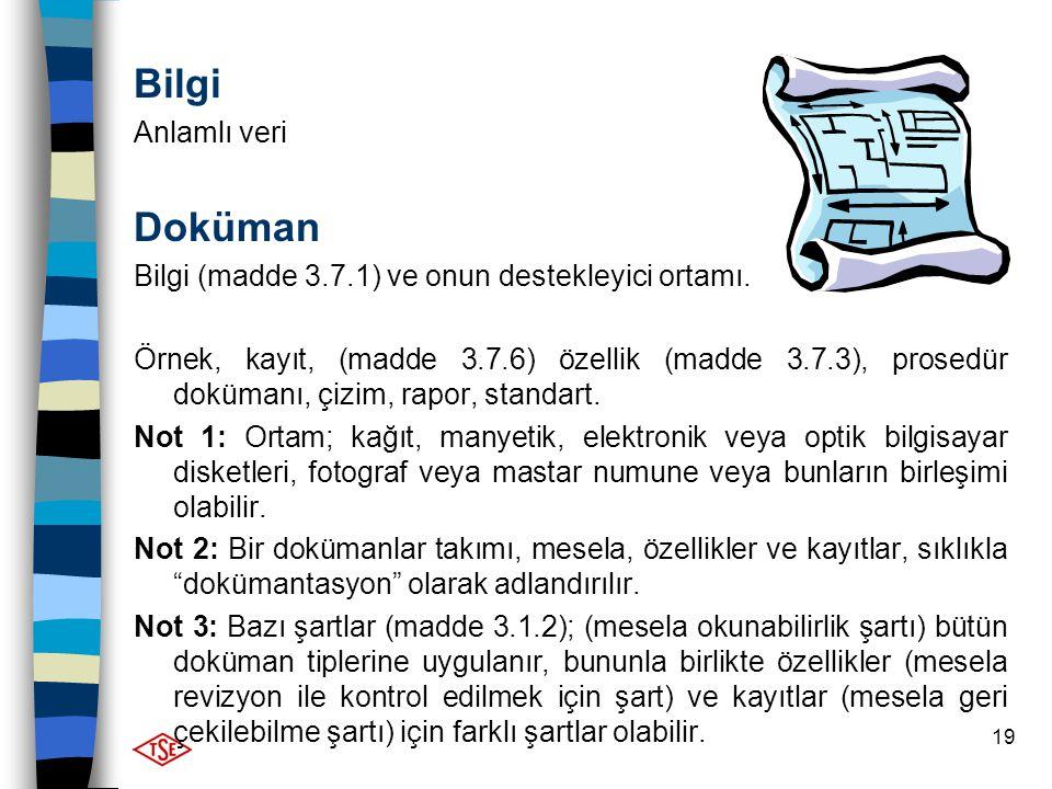 19 Bilgi Anlamlı veri Doküman Bilgi (madde 3.7.1) ve onun destekleyici ortamı. Örnek, kayıt, (madde 3.7.6) özellik (madde 3.7.3), prosedür dokümanı, ç