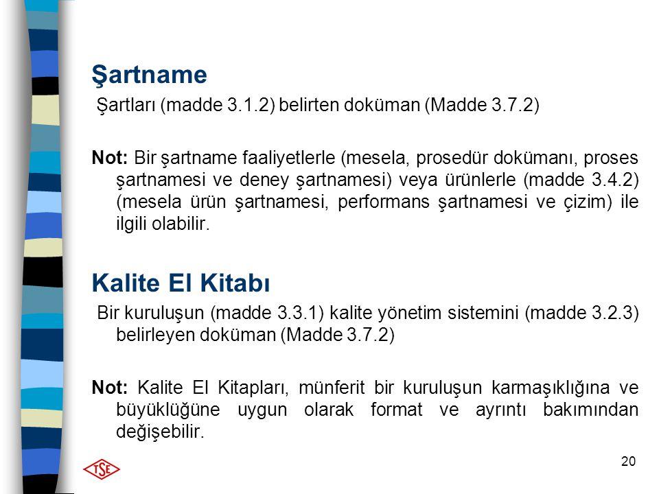 20 Şartname Şartları (madde 3.1.2) belirten doküman (Madde 3.7.2) Not: Bir şartname faaliyetlerle (mesela, prosedür dokümanı, proses şartnamesi ve den