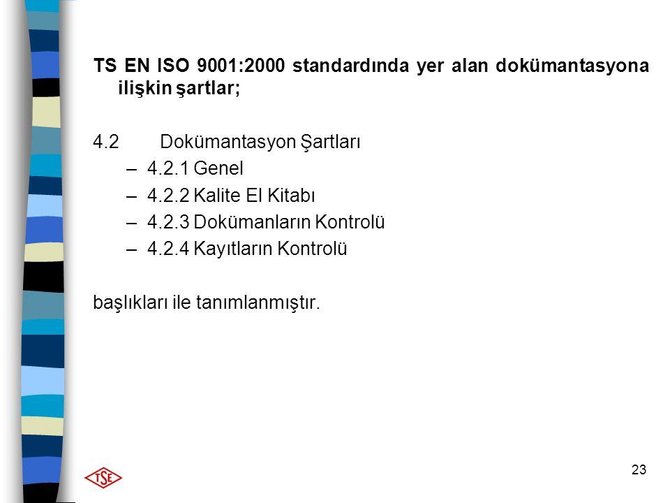 23 TS EN ISO 9001:2000 standardında yer alan dokümantasyona ilişkin şartlar; 4.2 Dokümantasyon Şartları –4.2.1 Genel –4.2.2 Kalite El Kitabı –4.2.3 Do