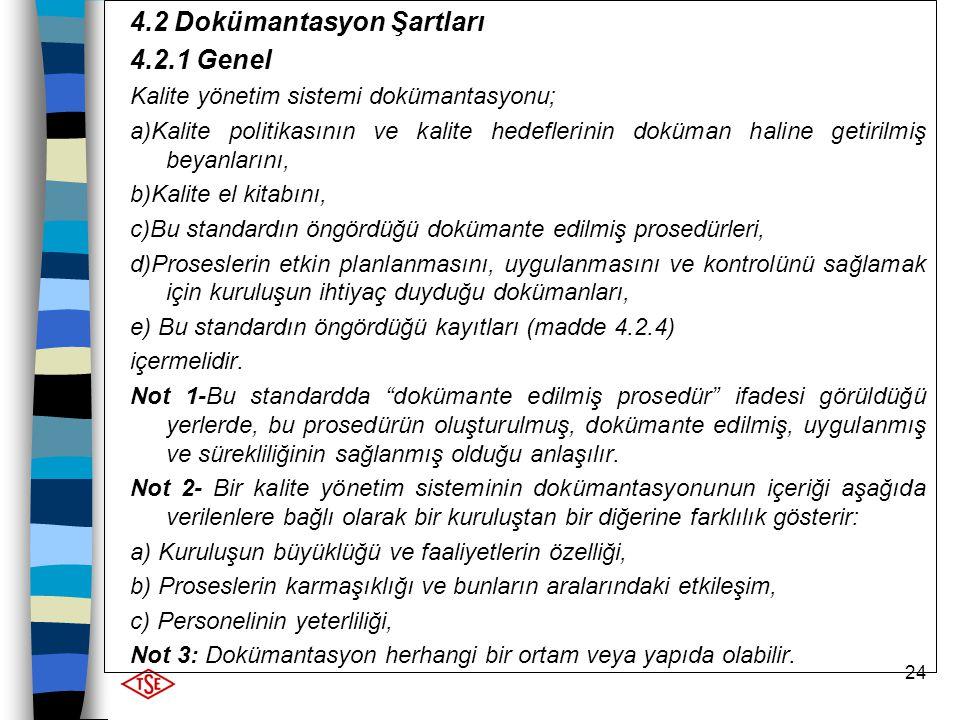 24 4.2 Dokümantasyon Şartları 4.2.1 Genel Kalite yönetim sistemi dokümantasyonu; a)Kalite politikasının ve kalite hedeflerinin doküman haline getirilm