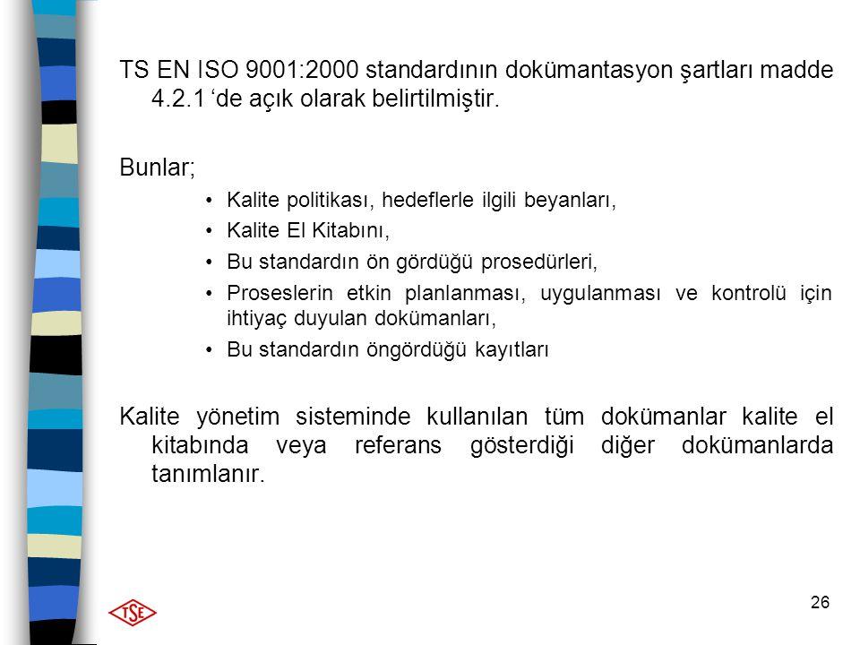26 TS EN ISO 9001:2000 standardının dokümantasyon şartları madde 4.2.1 'de açık olarak belirtilmiştir. Bunlar; Kalite politikası, hedeflerle ilgili be