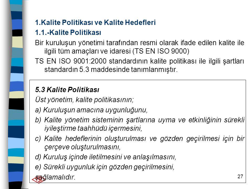 27 1.Kalite Politikası ve Kalite Hedefleri 1.1.-Kalite Politikası Bir kuruluşun yönetimi tarafından resmi olarak ifade edilen kalite ile ilgili tüm am