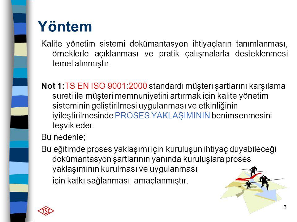 3 Yöntem Kalite yönetim sistemi dokümantasyon ihtiyaçların tanımlanması, örneklerle açıklanması ve pratik çalışmalarla desteklenmesi temel alınmıştır.