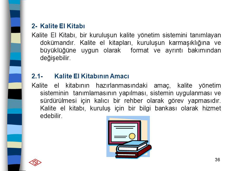36 2- Kalite El Kitabı Kalite El Kitabı, bir kuruluşun kalite yönetim sistemini tanımlayan dokümandır. Kalite el kitapları, kuruluşun karmaşıklığına v