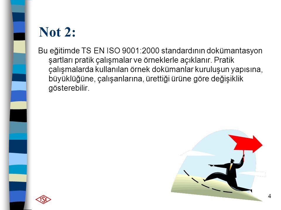 4 Not 2: Bu eğitimde TS EN ISO 9001:2000 standardının dokümantasyon şartları pratik çalışmalar ve örneklerle açıklanır. Pratik çalışmalarda kullanılan