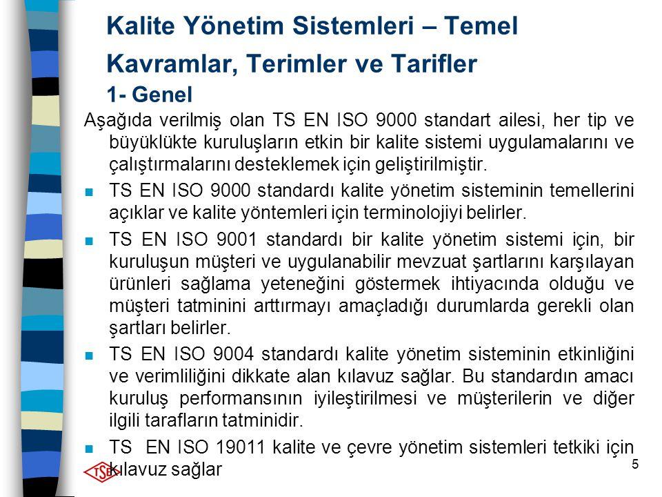 5 Kalite Yönetim Sistemleri – Temel Kavramlar, Terimler ve Tarifler 1- Genel Aşağıda verilmiş olan TS EN ISO 9000 standart ailesi, her tip ve büyüklük