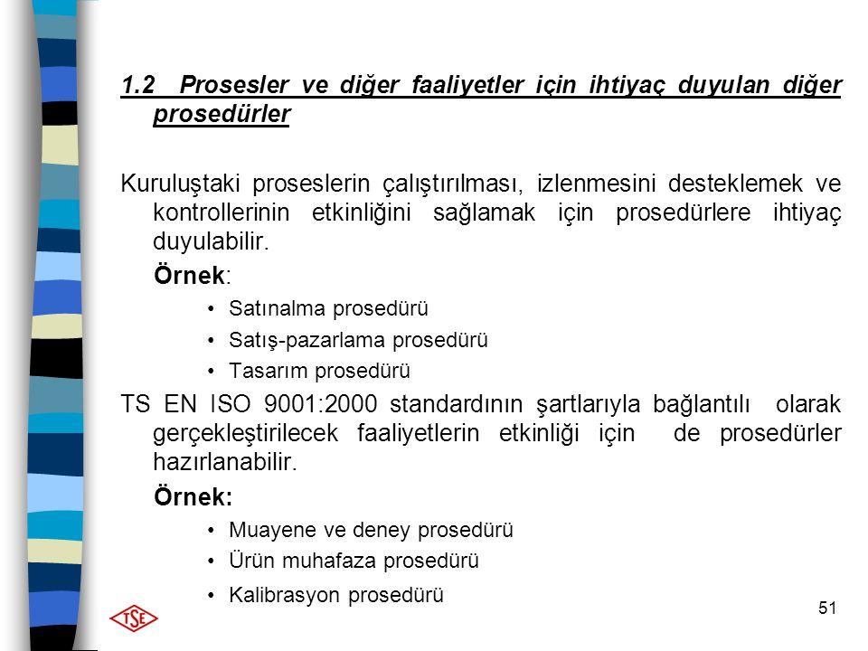 51 1.2 Prosesler ve diğer faaliyetler için ihtiyaç duyulan diğer prosedürler Kuruluştaki proseslerin çalıştırılması, izlenmesini desteklemek ve kontro