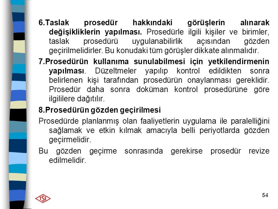54 6.Taslak prosedür hakkındaki görüşlerin alınarak değişikliklerin yapılması. Prosedürle ilgili kişiler ve birimler, taslak prosedürü uygulanabilirli