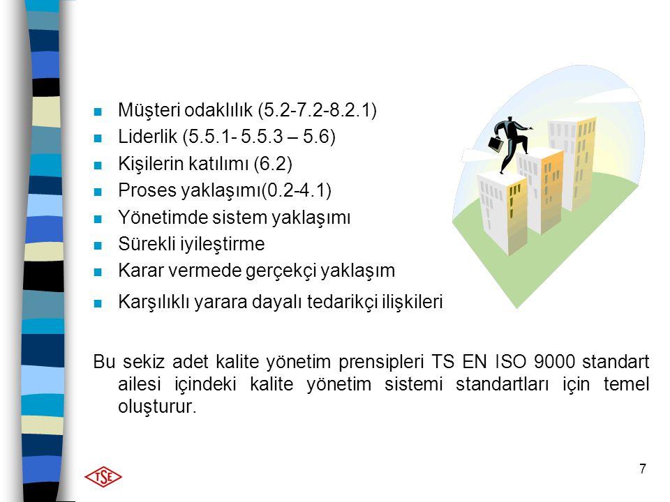 7 n Müşteri odaklılık (5.2-7.2-8.2.1) n Liderlik (5.5.1- 5.5.3 – 5.6) n Kişilerin katılımı (6.2) n Proses yaklaşımı(0.2-4.1) n Yönetimde sistem yaklaş