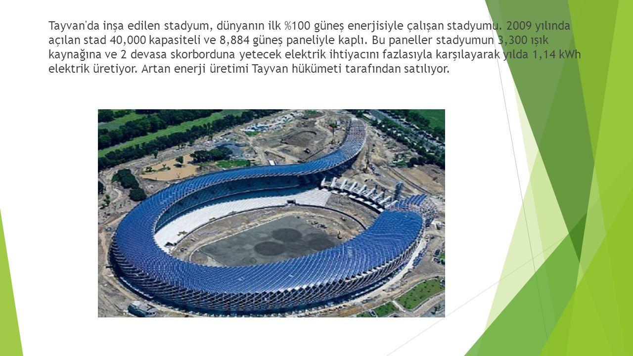 Tayvan'da inşa edilen stadyum, dünyanın ilk %100 güneş enerjisiyle çalışan stadyumu. 2009 yılında açılan stad 40,000 kapasiteli ve 8,884 güneş paneliy