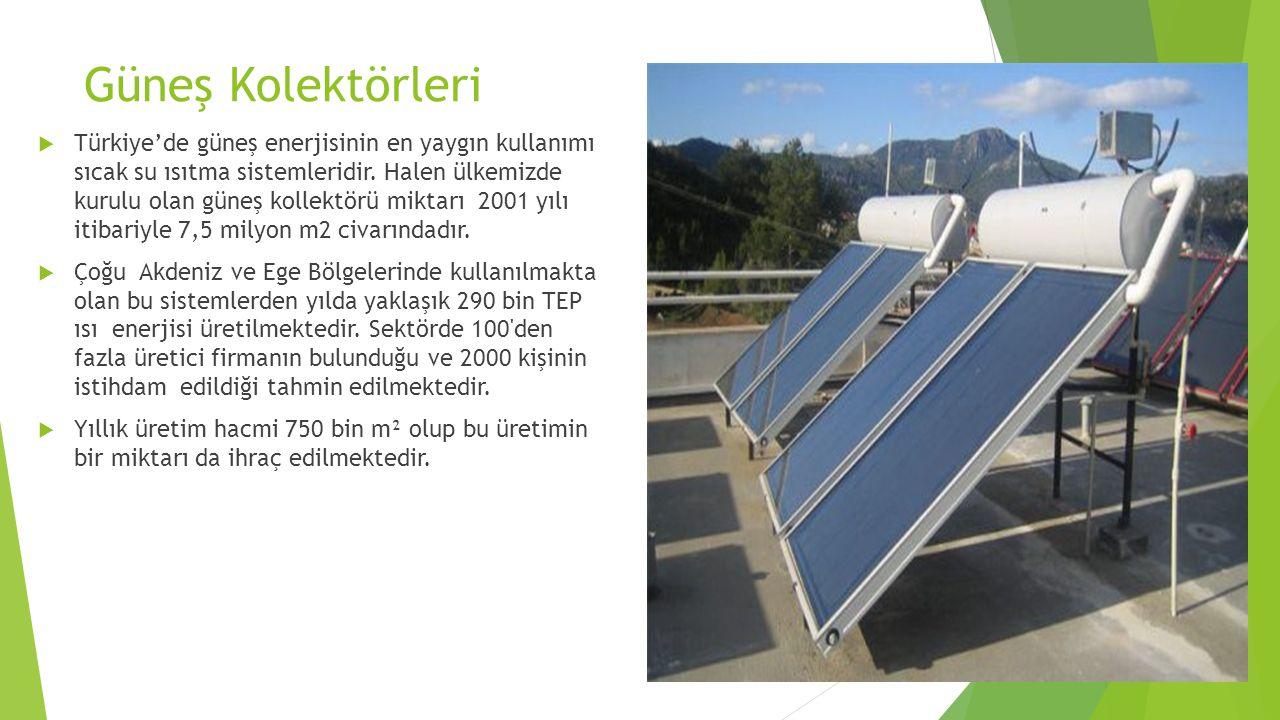 Güneş Kolektörleri  Türkiye'de güneş enerjisinin en yaygın kullanımı sıcak su ısıtma sistemleridir. Halen ülkemizde kurulu olan güneş kollektörü mikt