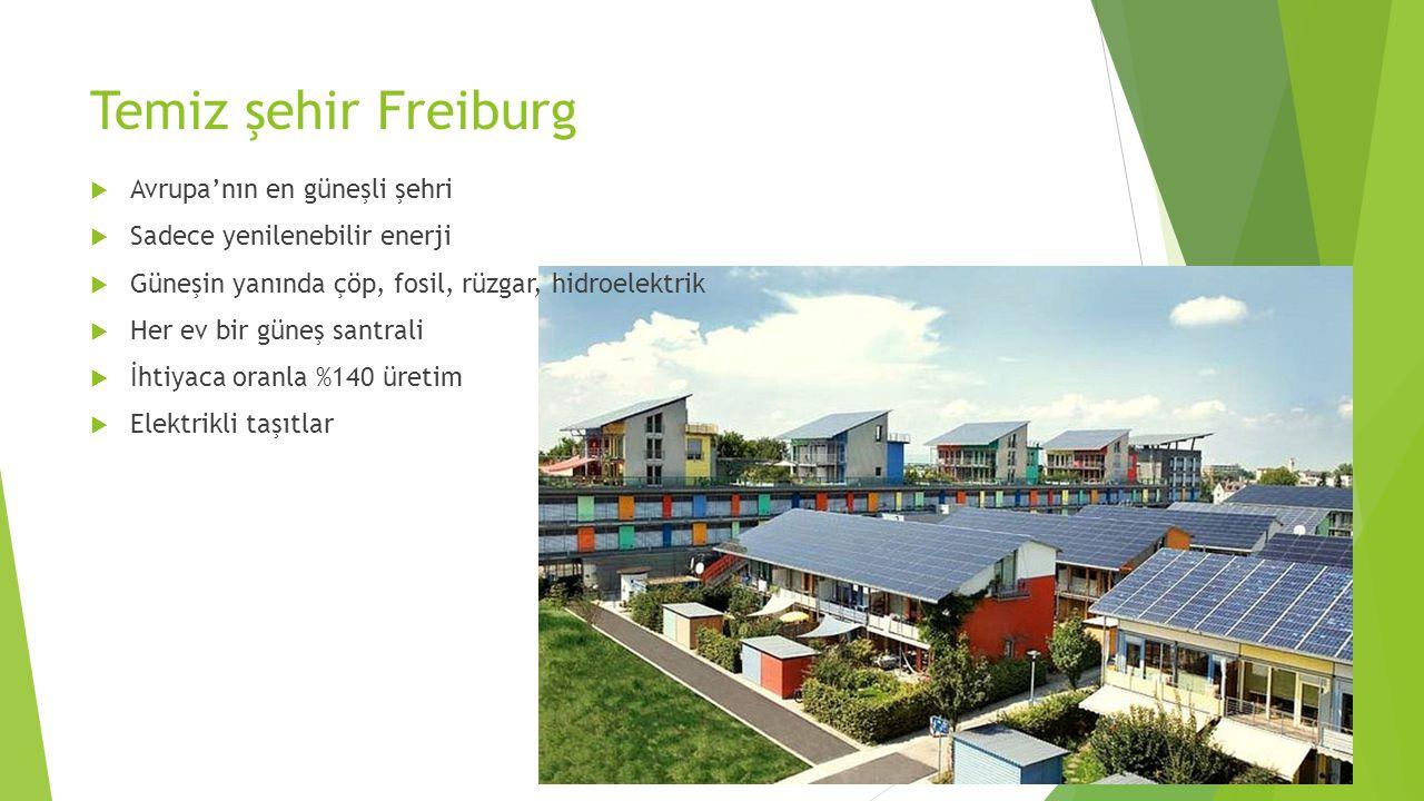 Temiz şehir Freiburg  Avrupa'nın en güneşli şehri  Sadece yenilenebilir enerji  Güneşin yanında çöp, fosil, rüzgar, hidroelektrik  Her ev bir güne