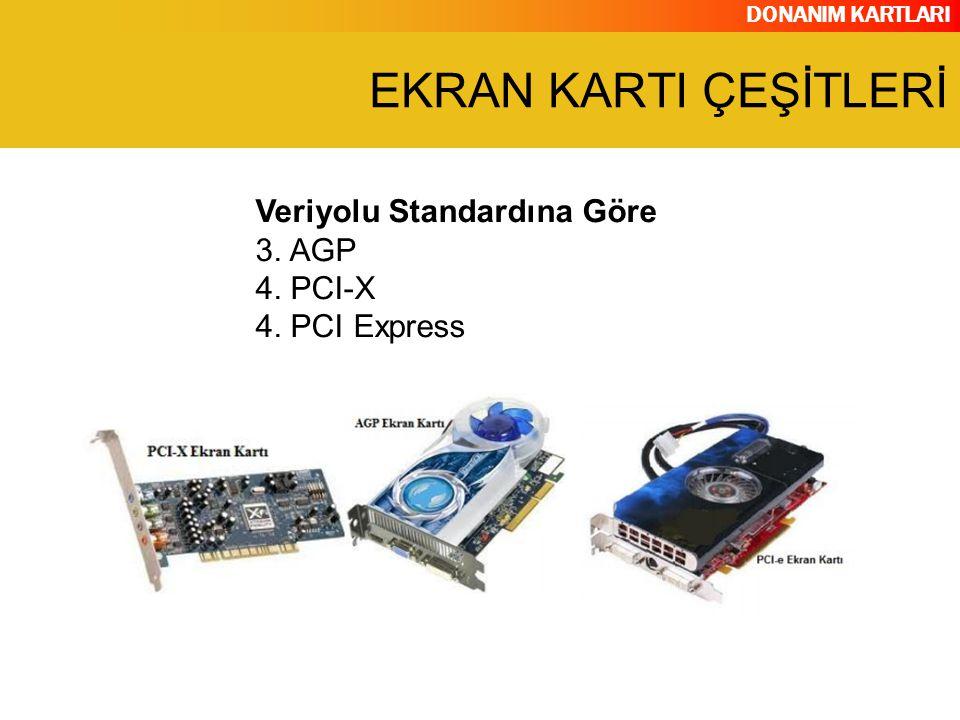 DONANIM KARTLARI Veriyolu Standardına Göre 3. AGP 4. PCI-X 4. PCI Express EKRAN KARTI ÇEŞİTLERİ