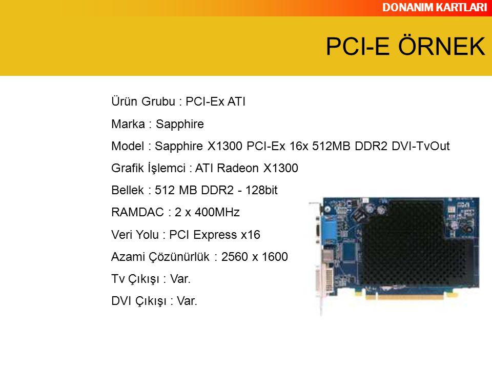DONANIM KARTLARI Ürün Grubu : PCI-Ex ATI Marka : Sapphire Model : Sapphire X1300 PCI-Ex 16x 512MB DDR2 DVI-TvOut Grafik İşlemci : ATI Radeon X1300 Bel