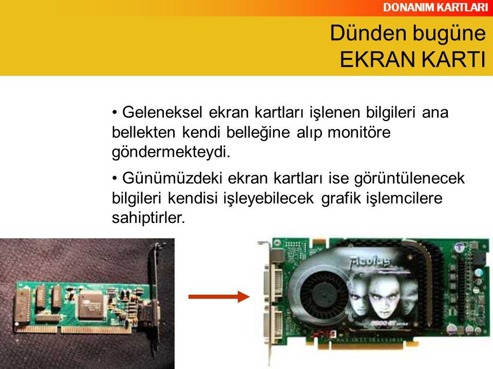 DONANIM KARTLARI Grafik İşlemcisi (GPU) Görüntü Belleği (Video RAM) Dijital Analog Çevirici (RAMDAC) Video BIOS Ekran Kartı Çıkış Bağlantıları(VGA-Out, DVI-Out, Video-İn/Out, Tv-Out Soğutucu YAPISI