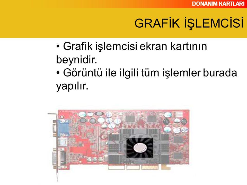 DONANIM KARTLARI CPU (MİB) grafik ile ilgili bilgileri ekran kartının görüntü belleğine aktarılır.