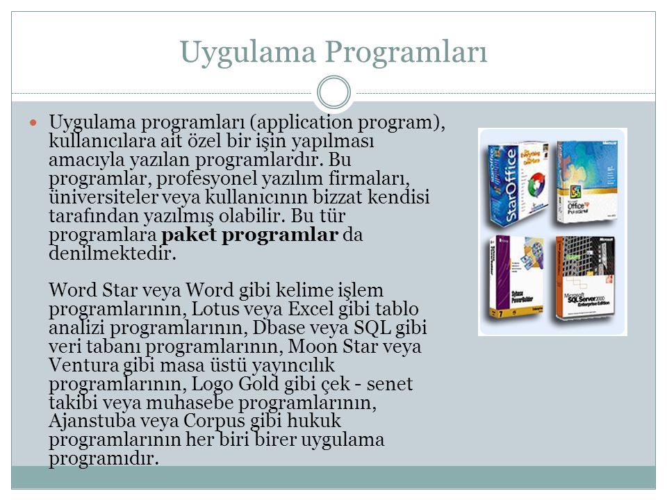 Uygulama Programları Uygulama programları (application program), kullanıcılara ait özel bir işin yapılması amacıyla yazılan programlardır.