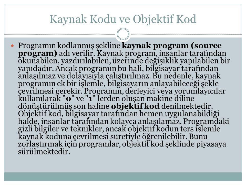 Kaynak Kodu ve Objektif Kod Programın kodlanmış şekline kaynak program (source program) adı verilir.