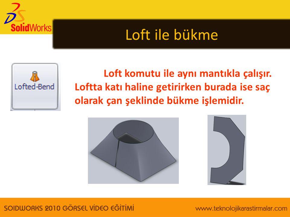 Loft ile bükme Loft komutu ile aynı mantıkla çalışır. Loftta katı haline getirirken burada ise saç olarak çan şeklinde bükme işlemidir.