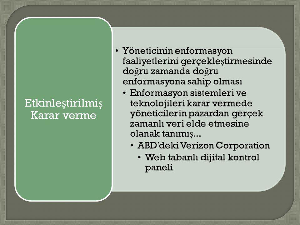 Yöneticinin enformasyon faaliyetlerini gerçekle ş tirmesinde do ğ ru zamanda do ğ ru enformasyona sahip olması Enformasyon sistemleri ve teknolojileri