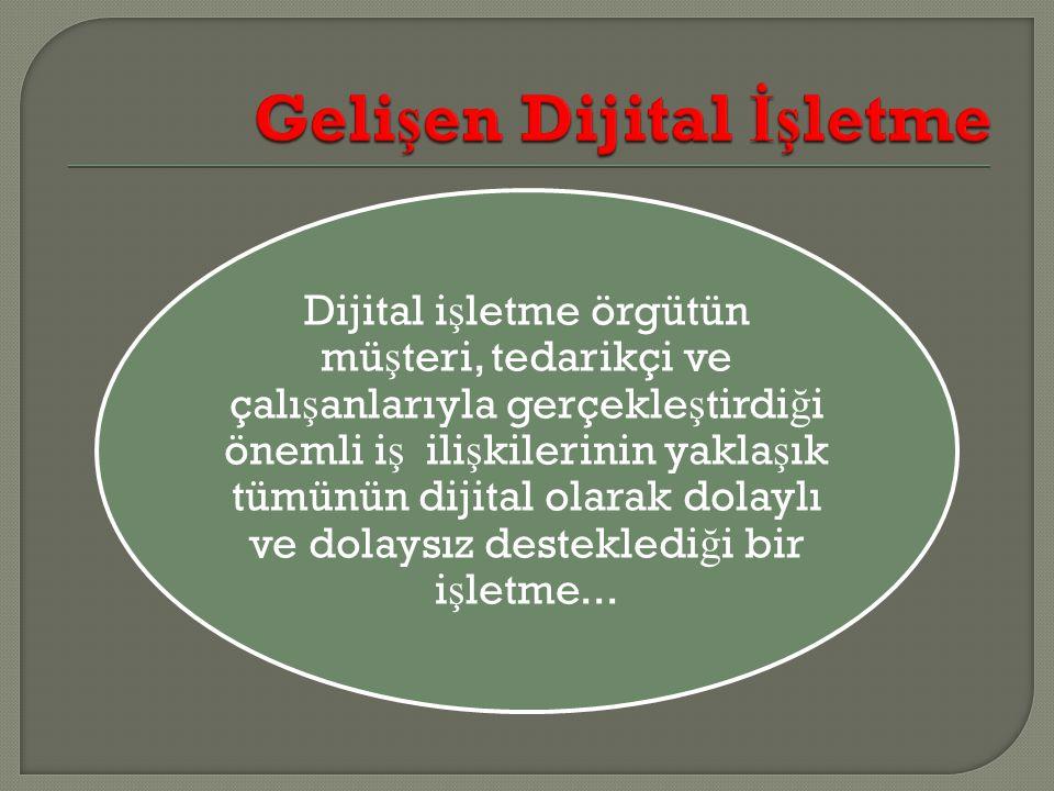 Dijital i ş letme örgütün mü ş teri, tedarikçi ve çalı ş anlarıyla gerçekle ş tirdi ğ i önemli i ş ili ş kilerinin yakla ş ık tümünün dijital olarak d