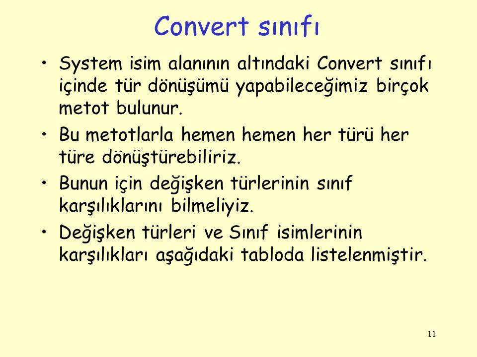Convert sınıfı System isim alanının altındaki Convert sınıfı içinde tür dönüşümü yapabileceğimiz birçok metot bulunur.