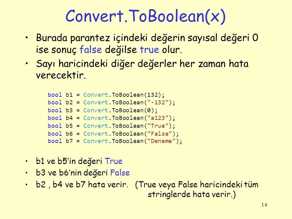 Convert.ToByte(x) Parantez içerisine girilen her hangi bir sayısal veya rakamlardan oluşmuş yazıyı byte tipine dönüştürür.