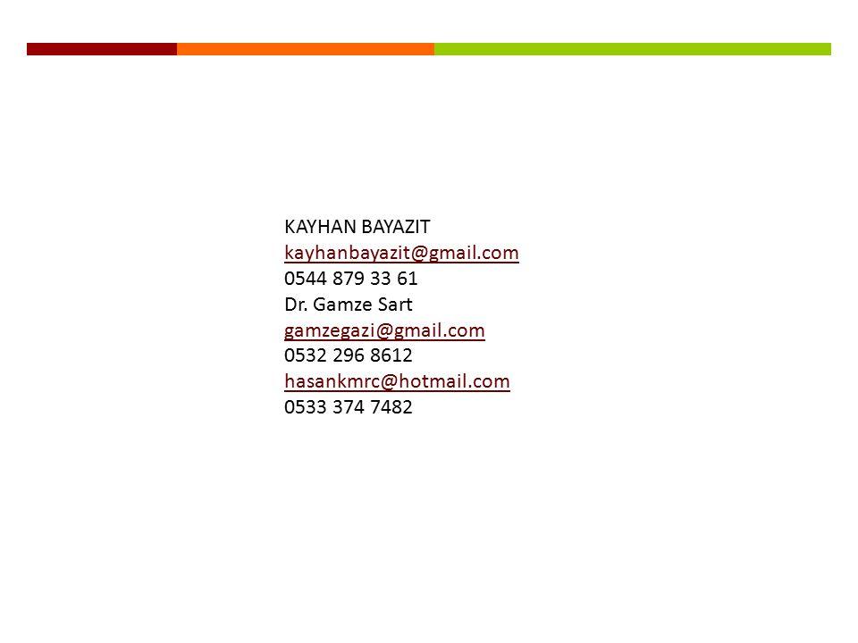 KAYHAN BAYAZIT kayhanbayazit@gmail.com 0544 879 33 61 Dr. Gamze Sart gamzegazi@gmail.com 0532 296 8612 hasankmrc@hotmail.com 0533 374 7482