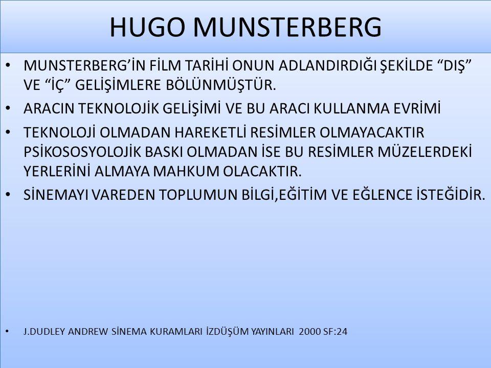 HUGO MUNSTERBERG MUNSTERBERG'İN TANITIMINDA FİLMİN KONUSUNA BİR ÖVGÜ VARDIR.