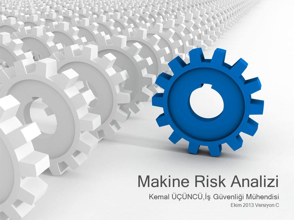 12 Tasarımda risk azaltma 1.Özünde güvenli tasarım 2.Makine koruyucuları ve tamamlayıcı önlemler 3.Kullanım kılavuzları ve ikazlar Kullanıcı tarafından alınan iş güvenliği önlemleri Talimatlar Periyodik bakım İş izin sistemi..