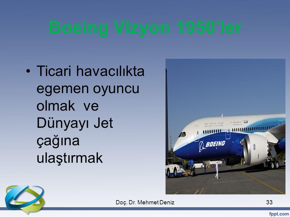 Boeing Vizyon 1950'ler Ticari havacılıkta egemen oyuncu olmak ve Dünyayı Jet çağına ulaştırmak 33Doç.